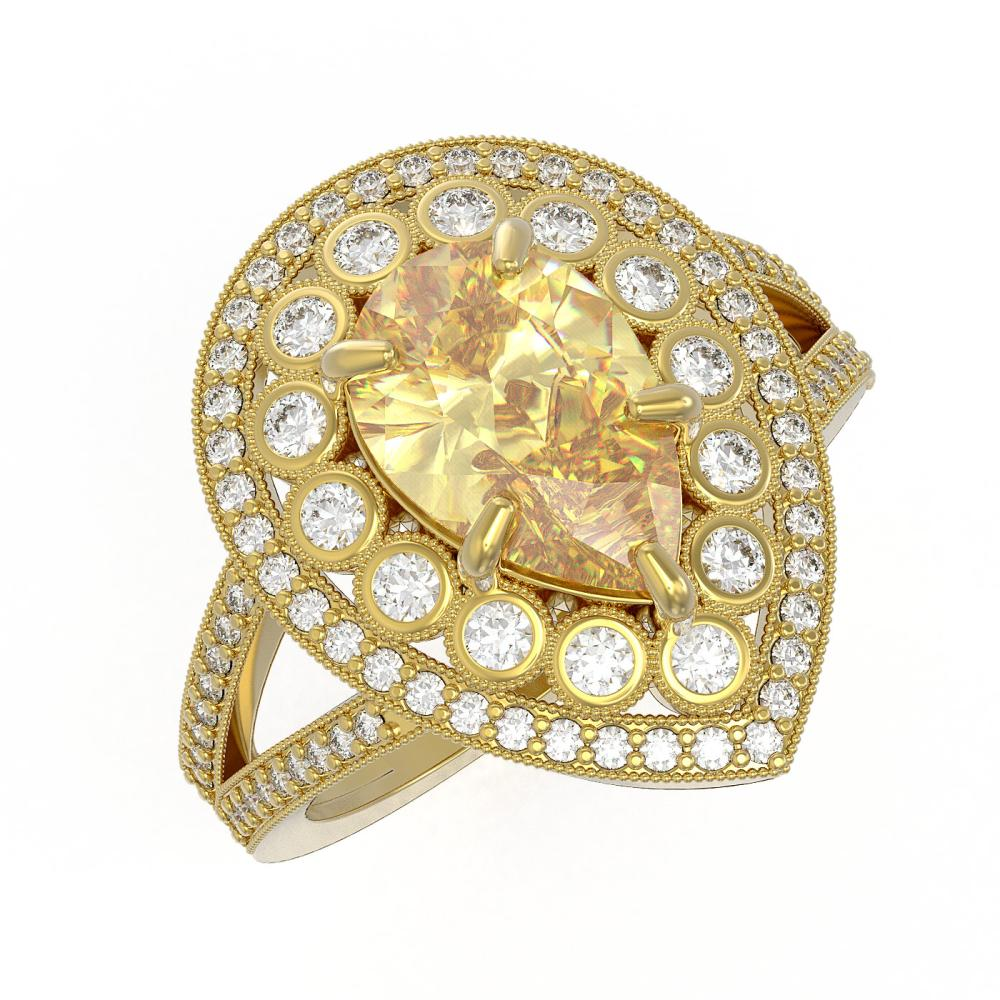 4.12 ctw Canary Citrine & Diamond Victorian Ring 14K Yellow Gold - REF-136H2W - SKU:43135