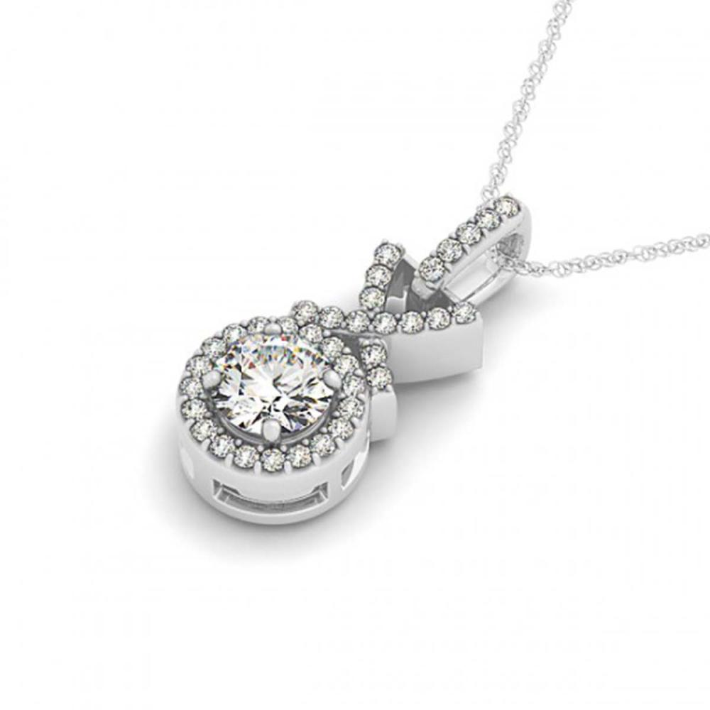 0.78 ctw VS/SI Diamond Halo Necklace 14K White Gold - REF-102R2H - SKU:30195