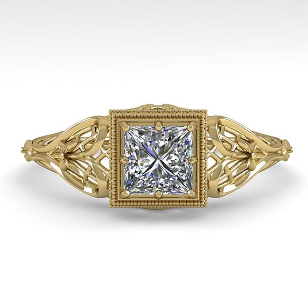 0.50 ctw VS/SI Princess Diamond Engagement Ring Deco 18K Yellow Gold - REF-113N8P - SKU:36025