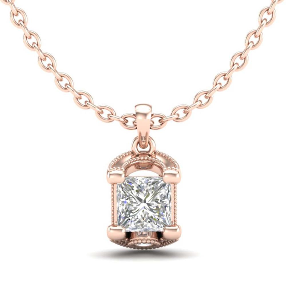 1.25 ctw Princess VS/SI Diamond Art Deco Necklace 18K Rose Gold - REF-315A2N - SKU:37155
