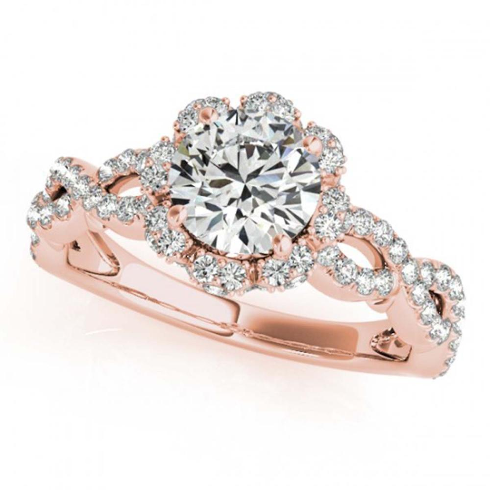 1.69 ctw VS/SI Diamond Halo Ring 18K Rose Gold - REF-411K3R - SKU:26821