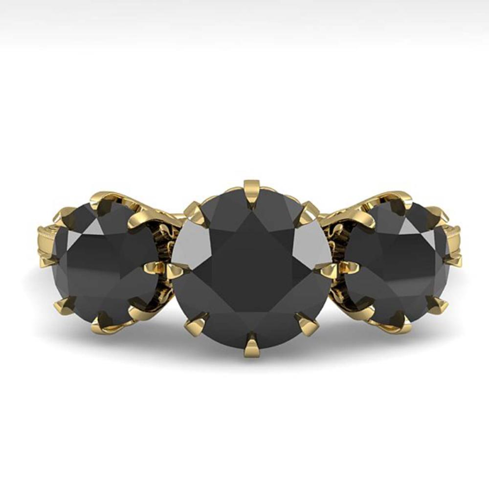 2 ctw Past Present Future Black Diamond Ring 18K Yellow Gold - REF-82K7R - SKU:35779