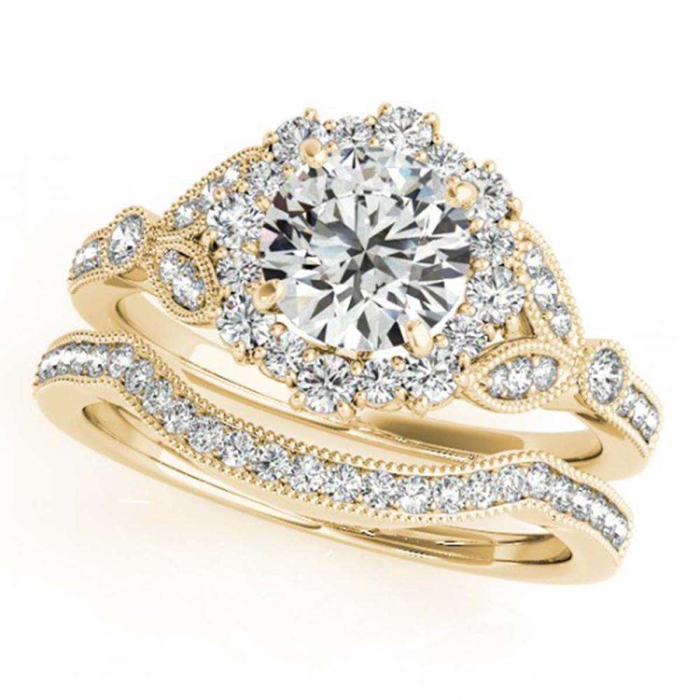 1.19 ctw VS/SI Diamond 2pc Wedding Set Halo 14K Yellow Gold - REF-151W8F - SKU:30962