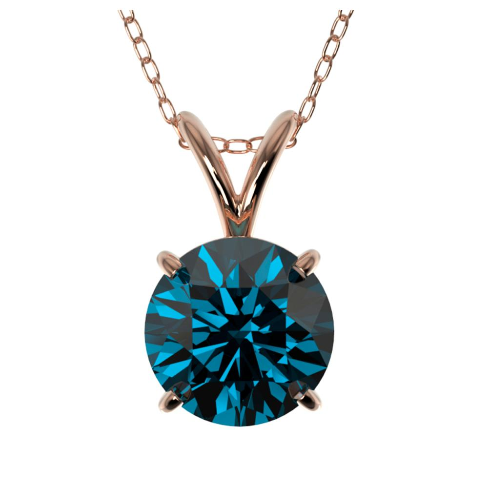 1.28 ctw Intense Blue SI Diamond Necklace 10K Rose Gold - REF-240F2M - SKU:36789