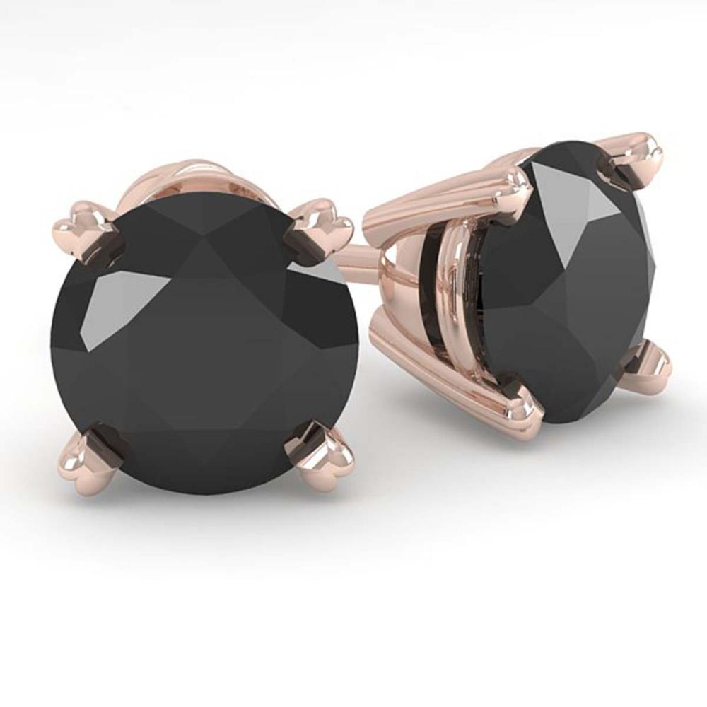 2.0 ctw Black Diamond Stud Designer Earrings 18K Rose Gold - REF-52R7H - SKU:32306