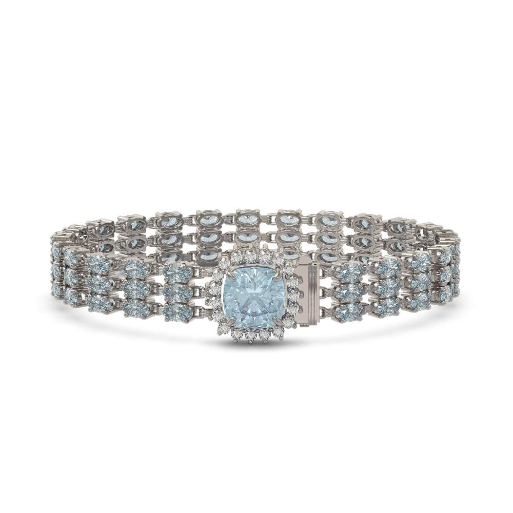 23.78 ctw Aquamarine & Diamond Bracelet 14K White Gold - REF-306A9N - SKU:45902