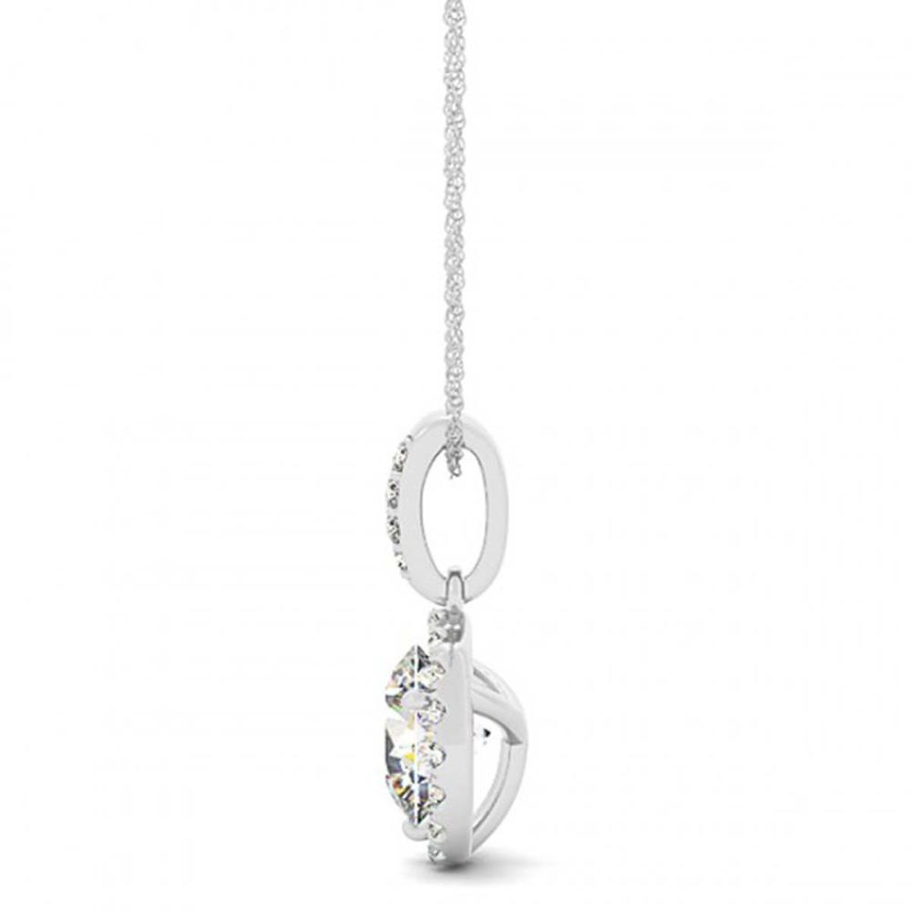 1.5 ctw VS/SI Diamond Solitaire Halo Necklace 14K White Gold - REF-387X2Y - SKU:30140