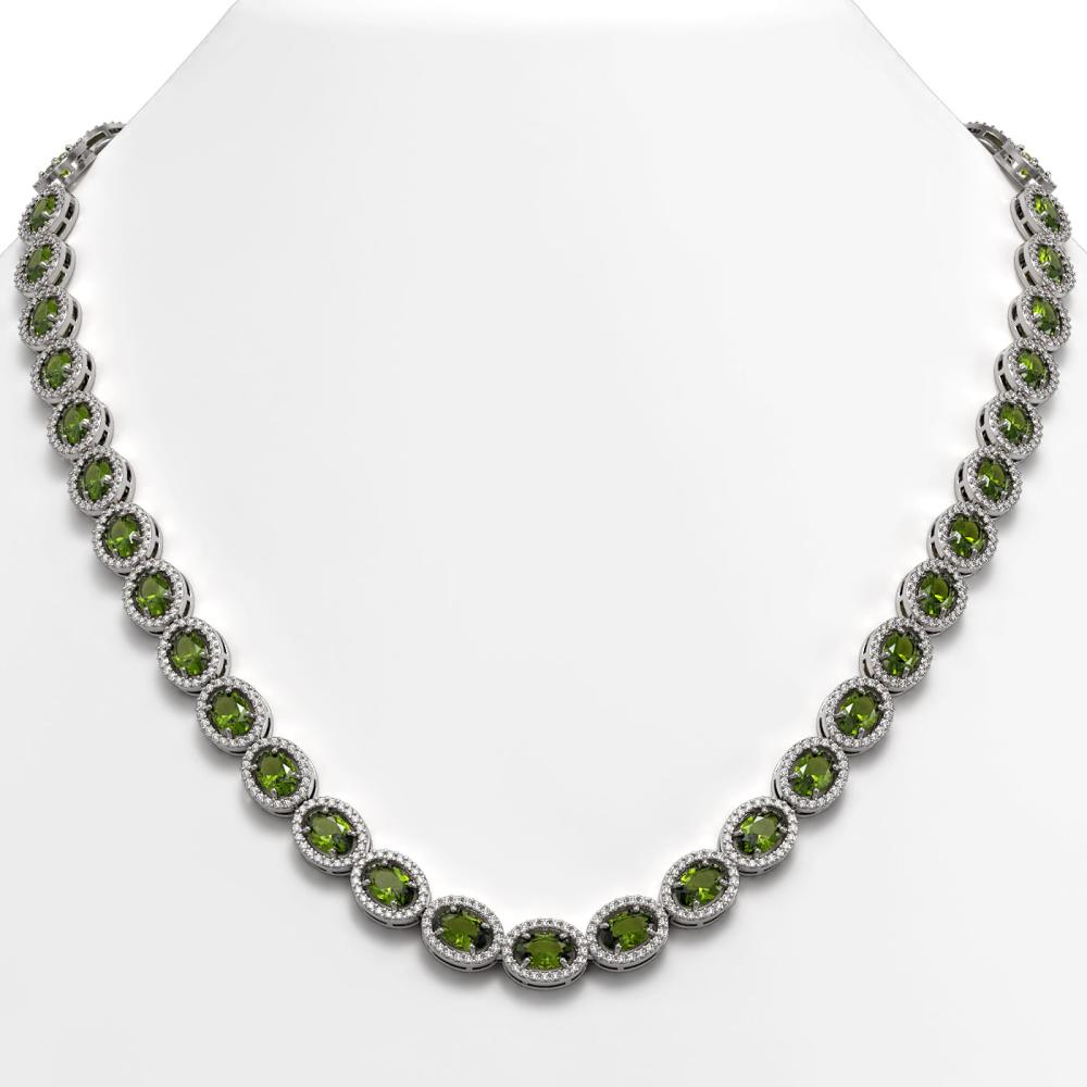 31.1 ctw Tourmaline & Diamond Halo Necklace 10K White Gold - REF-600H2W - SKU:40421