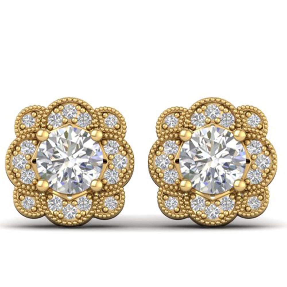 1.5 ctw VS/SI Diamond Art Deco Stud Earrings 14K Yellow Gold - REF-196K2R - SKU:30515