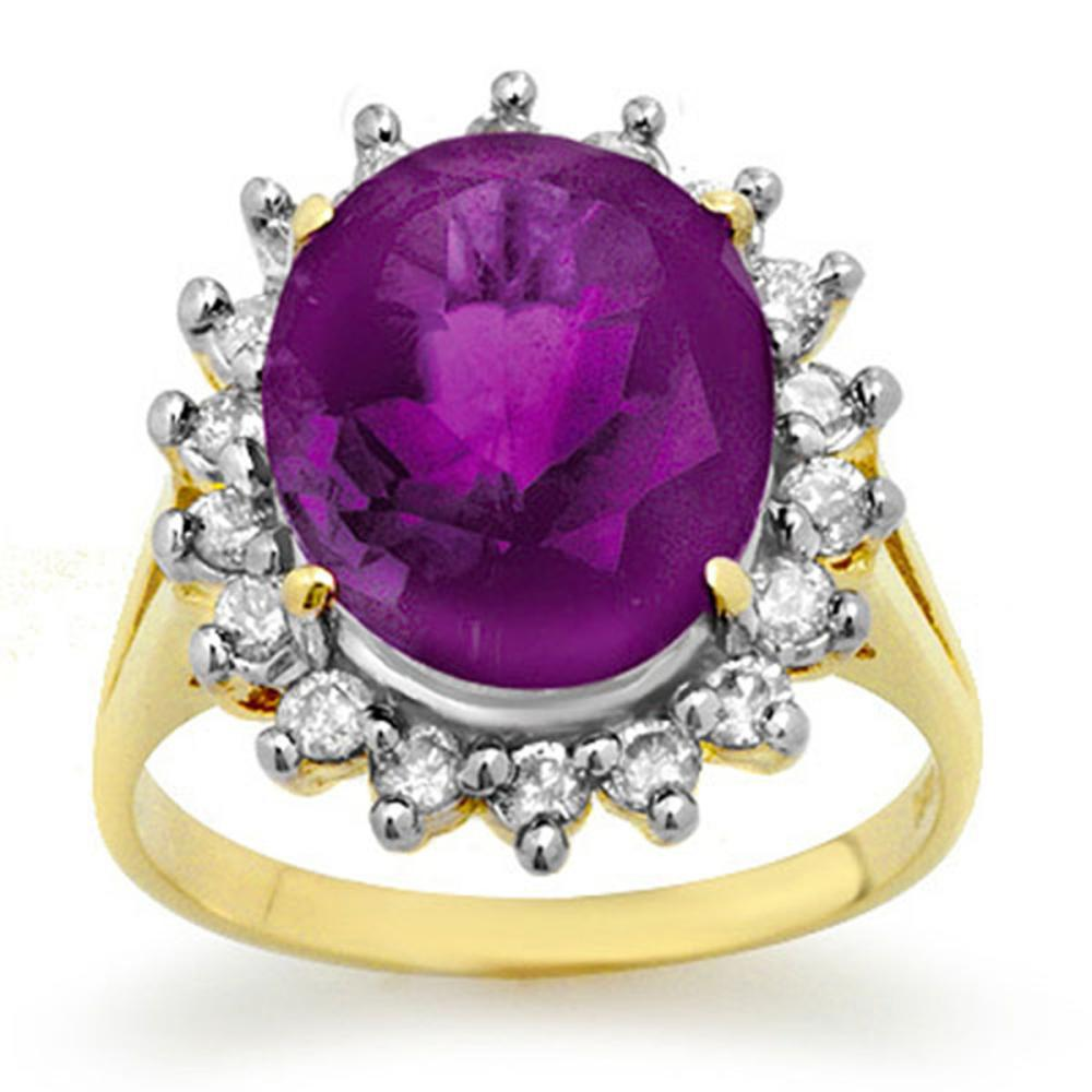 4.0 ctw Amethyst & Diamond Ring 14K Yellow Gold - REF-70Y9K - SKU:13673