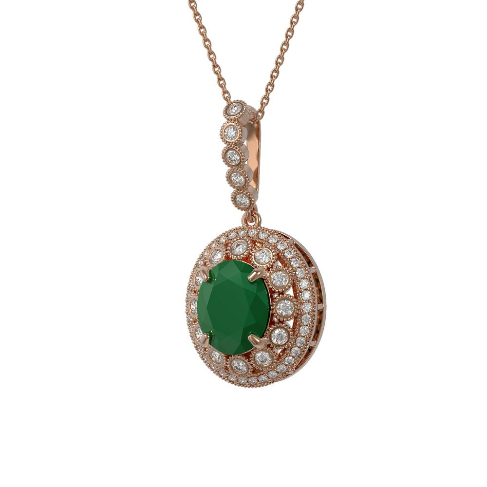8.66 ctw Emerald & Diamond Victorian Necklace 14K Rose Gold - REF-204R5H - SKU:43818