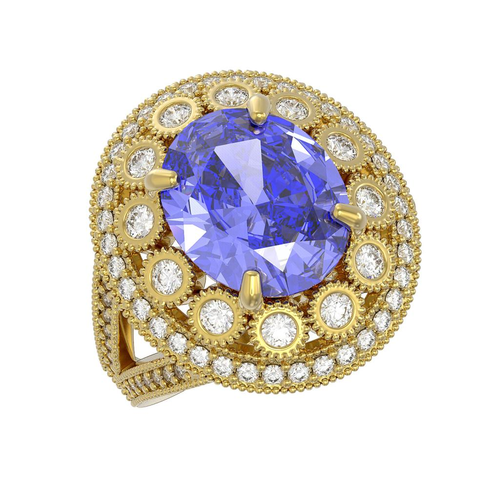 6.96 ctw Tanzanite & Diamond Victorian Ring 14K Yellow Gold - REF-302H4W - SKU:43747