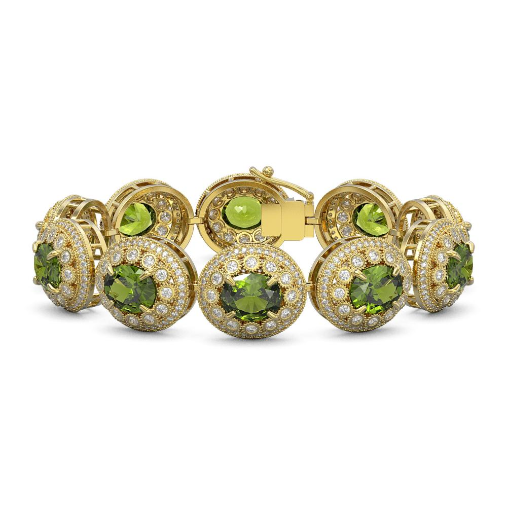 44.22 ctw Tourmaline & Diamond Victorian Bracelet 14K Yellow Gold - REF-1342H4W - SKU:43732