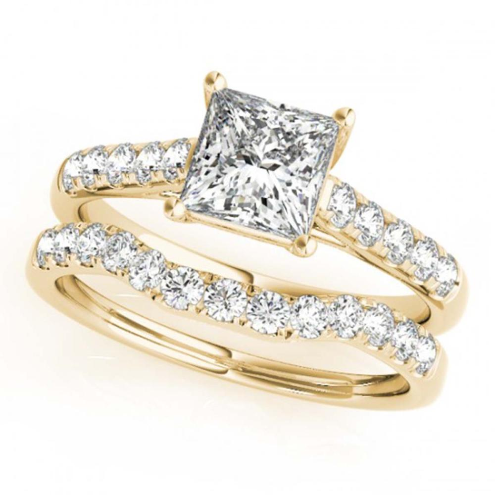 1.8 ctw VS/SI Princess Diamond 2pc Wedding Set 14K Yellow Gold - REF-427R3H - SKU:32077