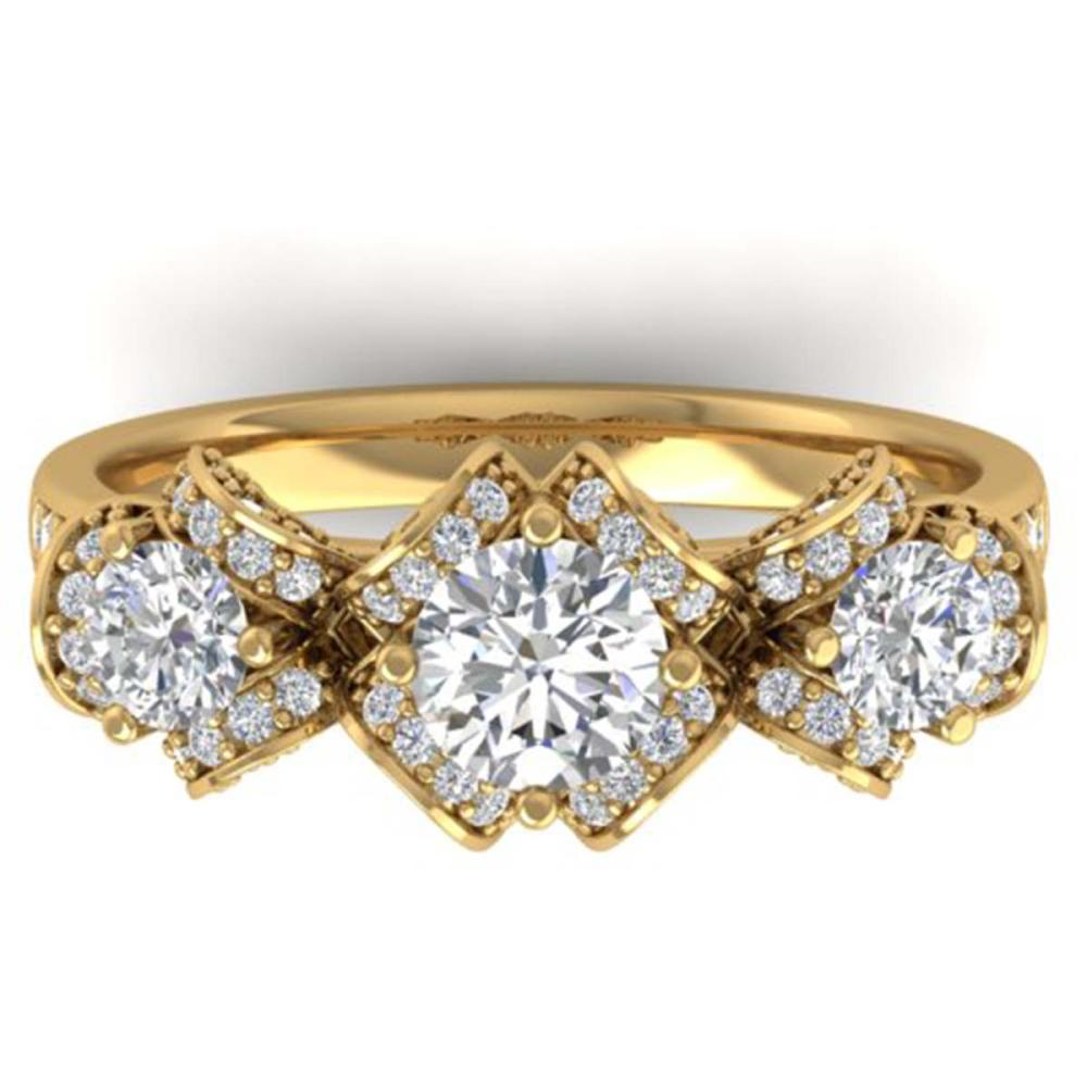 2 ctw VS/SI Diamond Art Deco 3-Stone Ring 14K Yellow Gold - REF-200F5M - SKU:30284