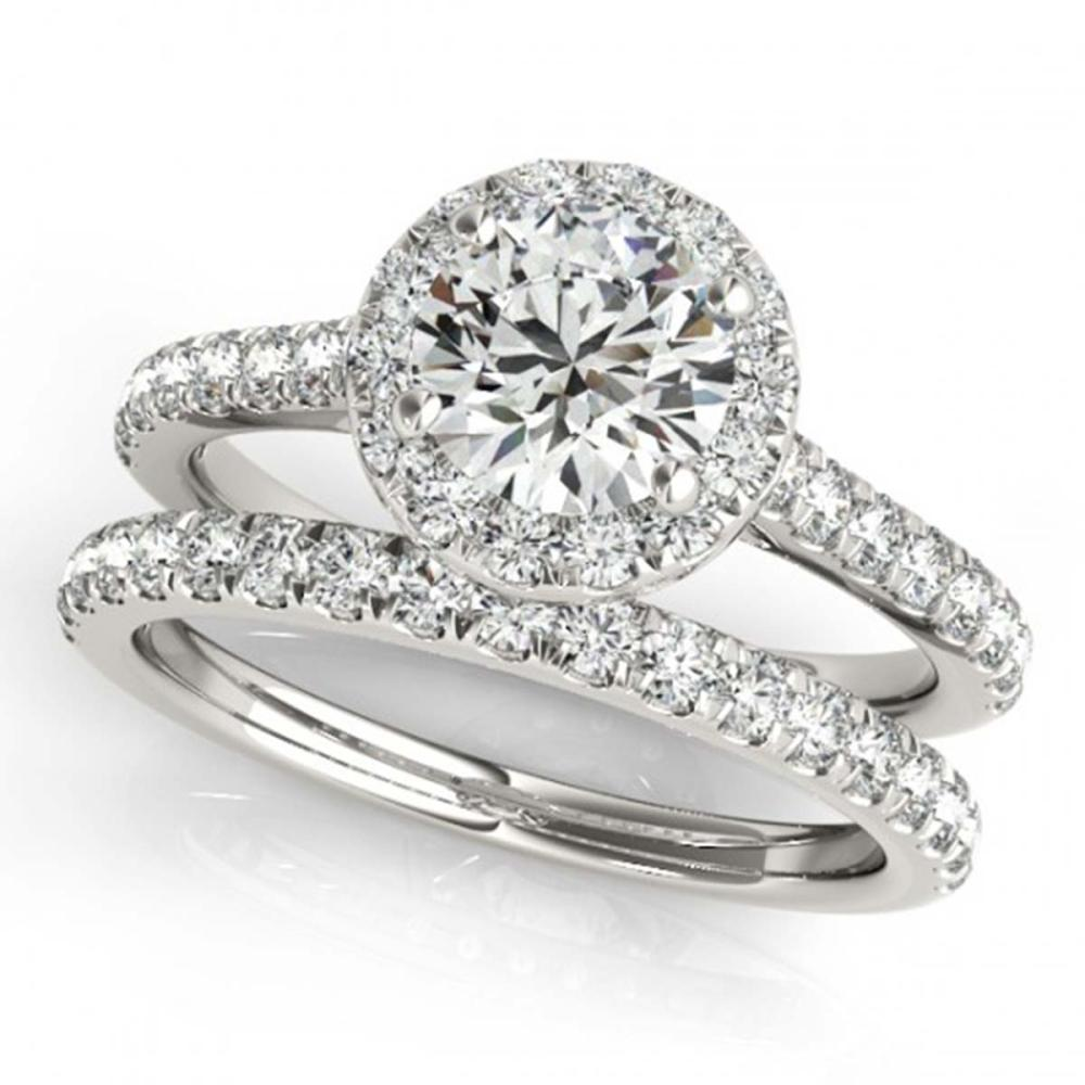 1.42 ctw VS/SI Diamond 2pc Wedding Set Halo 14K White Gold - REF-212K4R - SKU:30837