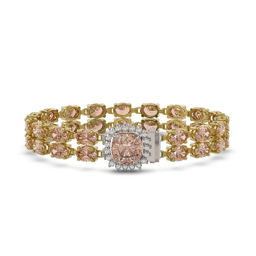 16.93 ctw Morganite & Diamond Bracelet 14K Yellow Gold - REF-242F2M - SKU:45607