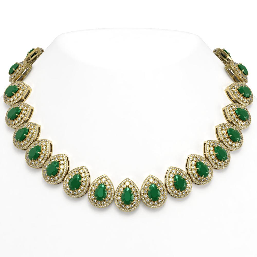 121.42 ctw Emerald & Diamond Victorian Necklace 14K Yellow Gold - REF-3501N6P - SKU:43228