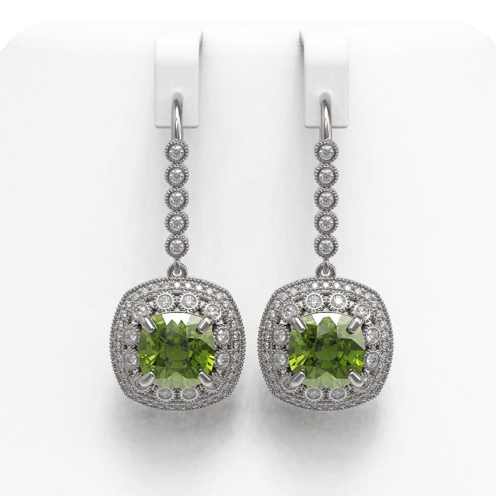 14.1 ctw Tourmaline & Diamond Victorian Earrings 14K White Gold - REF-331H5W - SKU:43970
