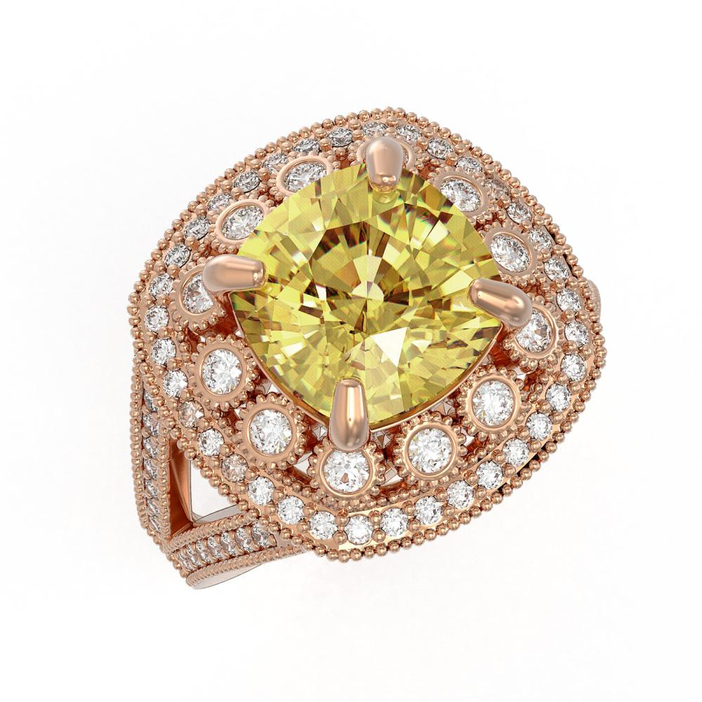 7.22 ctw Canary Citrine & Diamond Victorian Ring 14K Rose Gold - REF-135H5W - SKU:43944