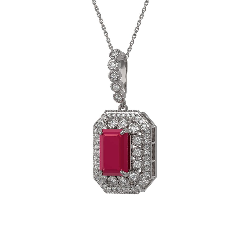 7.18 ctw Ruby & Diamond Victorian Necklace 14K White Gold - REF-159M3A - SKU:43439