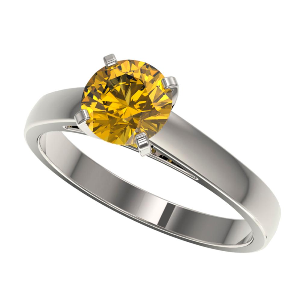 1.23 ctw Intense Yellow SI Diamond Solitaire Ring 10K White Gold - REF-255K2R - SKU:36541