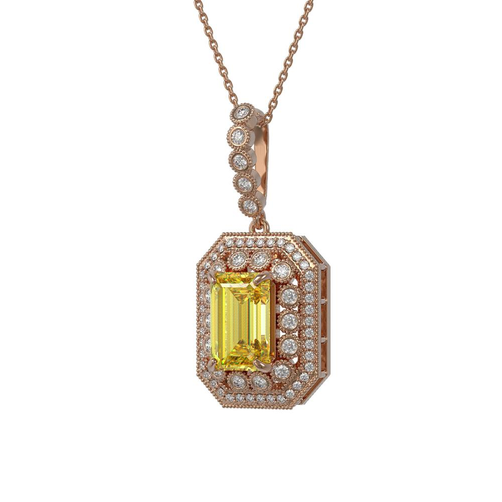 5.82 ctw Canary Citrine & Diamond Victorian Necklace 14K Rose Gold - REF-132F9M - SKU:43452