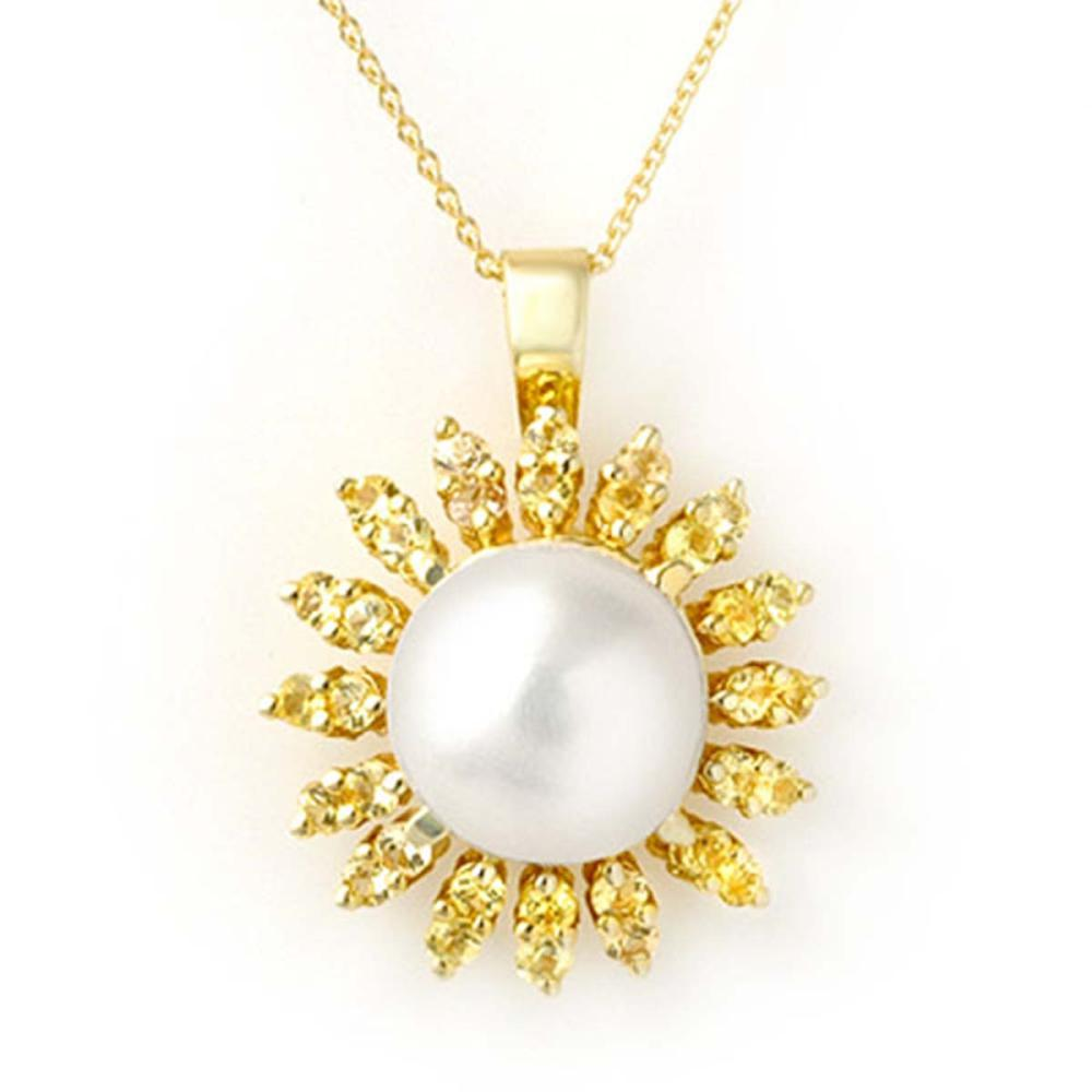 1.50 ctw Yellow Sapphire & Pearl Necklace 10K Yellow Gold - REF-40K2R - SKU:11739