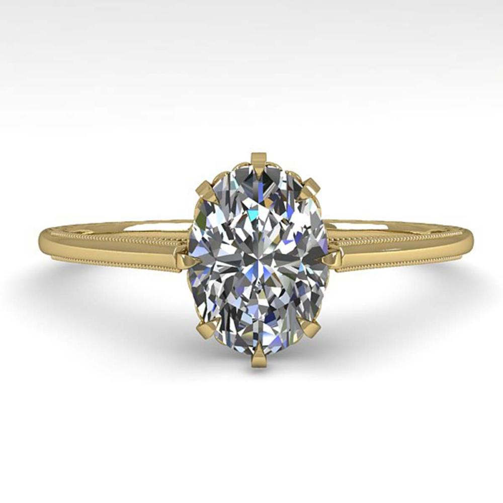 1.0 ctw VS/SI Oval Diamond Engagement Ring 18K Yellow Gold - REF-315X2Y - SKU:35749