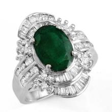 3.45 CTW Emerald & Diamond Ring 18K White Gold - REF-140K2R - 12975