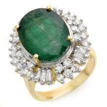 11.75 CTW Emerald & Diamond Ring 14K Yellow Gold - REF-246M4F - 14412