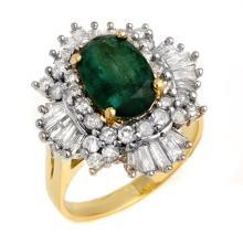 3.90 ctw Emerald & Diamond Ring 14K Yellow Gold - REF#-143R6H-13284