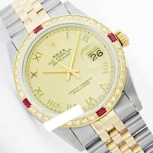 Rolex Men's Two Tone 14K Gold/SS, QuickSet, Roman Dial & Diam/Ruby Bezel - REF-452Z7Y