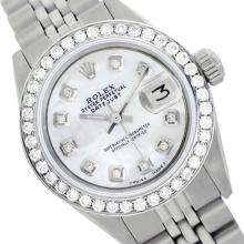 Rolex Ladies Stainless Steel, Diamond Dial & Diamond Bezel, Saph Crystal - REF-355A6N