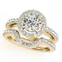 0.96 CTW Certified VS/SI Diamond 2pc Wedding Set Solitaire Halo 14K Gold - REF#-138F7V-30776