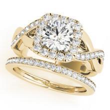 2.35 CTW Certified VS/SI Diamond 2pc Wedding Set Solitaire Halo 14K Gold - REF#-542K4W-30656