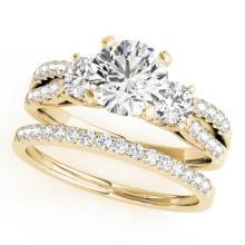 1.96 CTW Certified VS/SI Diamond 3 stone 2pc Wedding Set  14K Gold - REF#-521F6V-32047