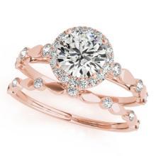 1.36 CTW Certified VS/SI Diamond 2pc Wedding Set Solitaire Halo 14K Gold - REF#-371W8G-30862