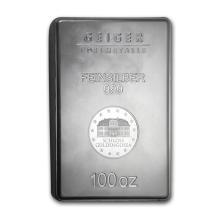 One piece 100 oz 0.999 Fine Silver Bar Geiger Security Line Series