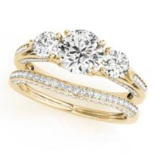 2.05 CTW Certified VS/SI Diamond 3 stone 2pc Wedding Set  14K Gold - REF#-447T3K-32023