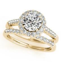 2.31 CTW Certified VS/SI Diamond 2pc Wedding Set Solitaire Halo 14K Gold - REF#-582Y9M-30794