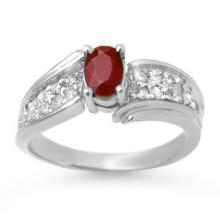 1.43 CTW Ruby & Diamond Ring 14K White Gold - REF-51W6H - 13344