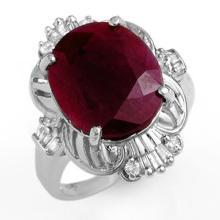 6.70 CTW Ruby & Diamond Ring 18K White Gold - REF-85R6K - 12725