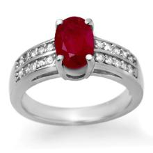 3.38 CTW Ruby & Diamond Ring 14K White Gold - REF-60K5R - 14274