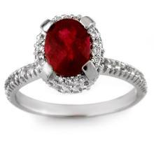 2.50 CTW Ruby & Diamond Ring 14K White Gold - REF-64K2R - 13632