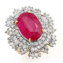 12.16 CTW Ruby & Diamond Ring 14K Yellow Gold - REF-363N3A - 12966