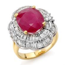 5.59 CTW Ruby & Diamond Ring 14K Yellow Gold - REF-159Y6X - 13145