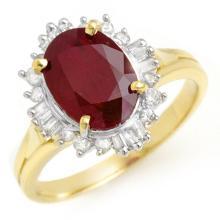 3.66 CTW Ruby & Diamond Ring 14K Yellow Gold - REF-62A2N - 13688