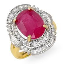 5.75 CTW Ruby & Diamond Ring 14K Yellow Gold - REF-118H7W - 12901