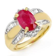 3.01 CTW Ruby & Diamond Ring 14K Yellow Gold - REF-87X3Y - 12833